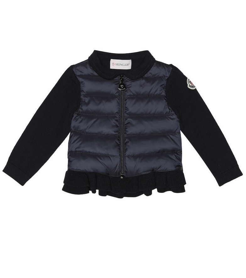 Moncler Enfant Baby quilted down and knit jacket in blue