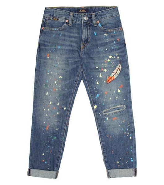 Polo Ralph Lauren Kids Embroidered jeans in pink
