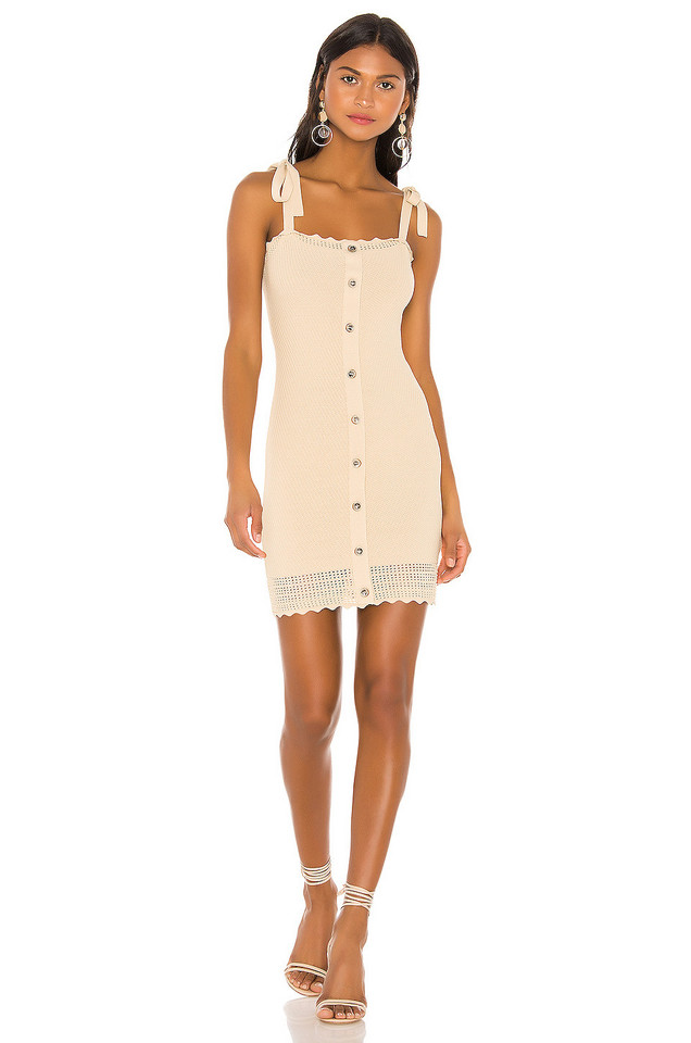 THE JETSET DIARIES Love Song Mini Dress in beige