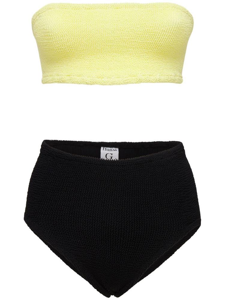 HUNZA G Duo Edie Nile High Waist Bikini Set in black / yellow