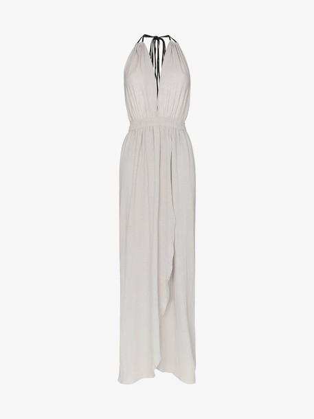 Caravana Nefeli V neck wrap cotton maxi dress in grey