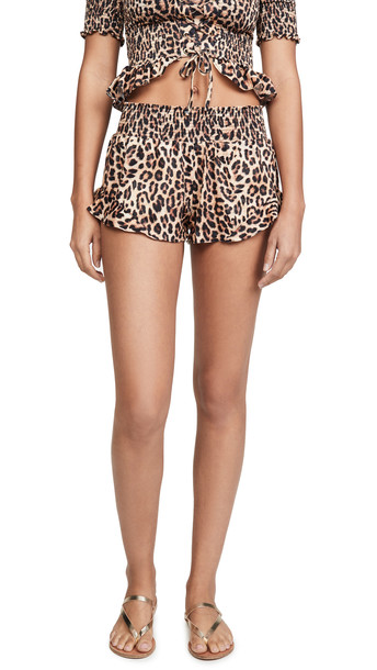 Peixoto Ruffled Cover Up Shorts in leopard