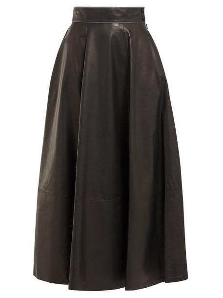 Loewe - High Rise Leather Midi Skirt - Womens - Black