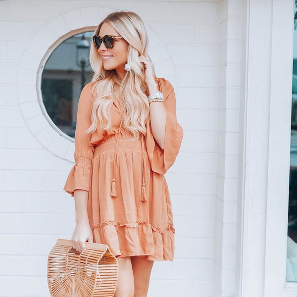dress mini dress orange dress bag sunglasses