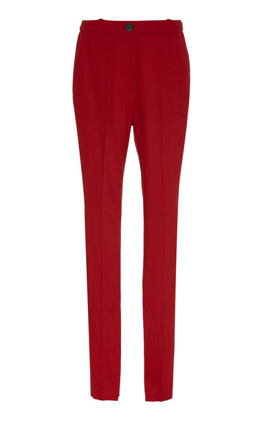Peter Do Ankle-Slit Cady Slim-Leg Pants Size: 36 in red