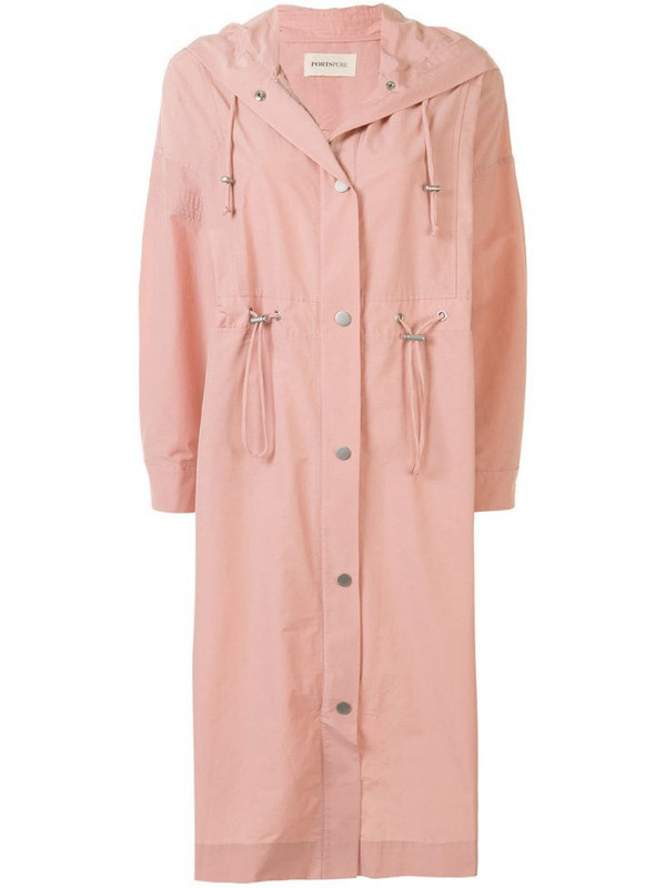 PortsPURE drawstring-waist hooded parka in pink