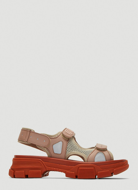 Gucci Leather and Mesh Sneaker Sandal in Orange size EU - 36.5