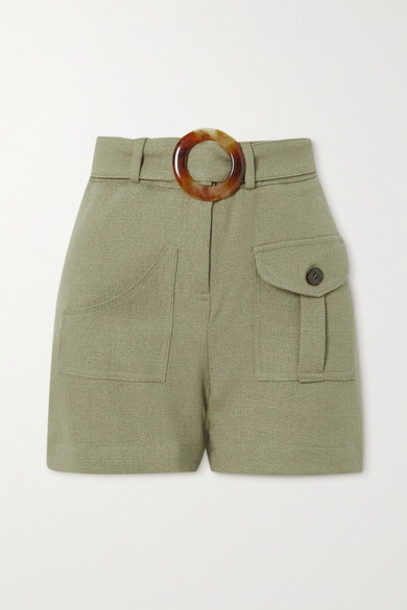 PatBO - Belted Gauze Shorts - Sage green
