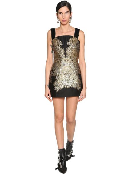 ETRO Jacquard & Velvet Lamé Corset Mini Dress in black / gold