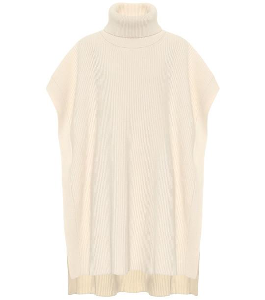 Joseph Ribbed-knit turtleneck poncho in white