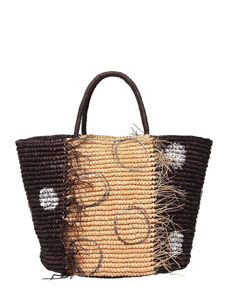 SENSI STUDIO Maxi Frayed Polka Dot Straw Tote Bag in black