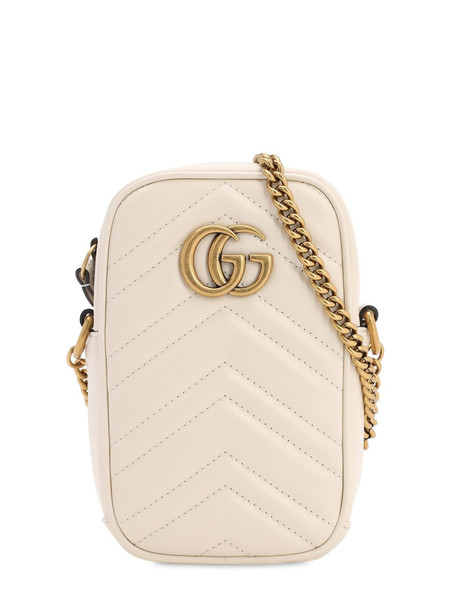 GUCCI Gg Marmont 2.0 Leather Shoulder Bag in white