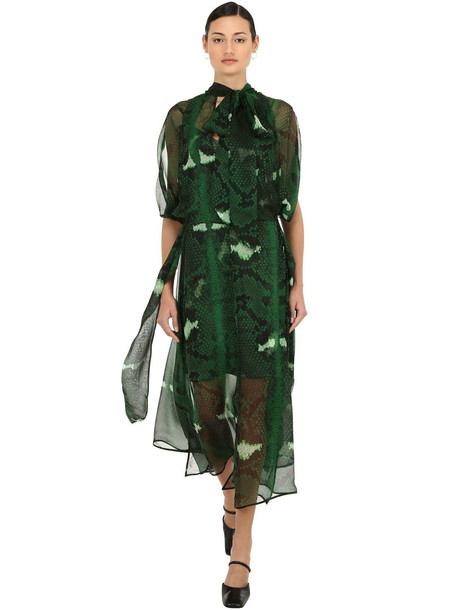PETAR PETROV Snake Print Silk Mousseline Dress in green