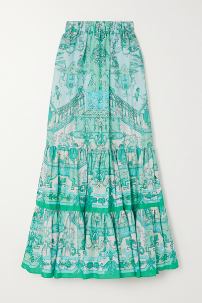 ETRO - Tiered Printed Cotton-blend Poplin Maxi Skirt - Blue
