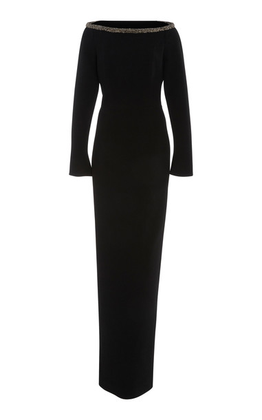 Rachel Gilbert Winona Crystal-Embellished Stretch-Crepe Gown Size: 4 in black