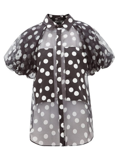 Lee Mathews - Cherry Polka-dot Puff-sleeve Silk-organza Blouse - Womens - Black White