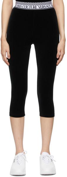 Versace Jeans Couture Black Velvet Cropped Leggings in nero