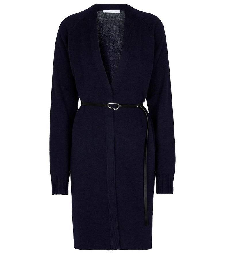 Helmut Lang Belted wool and cashmere cardigan in blue