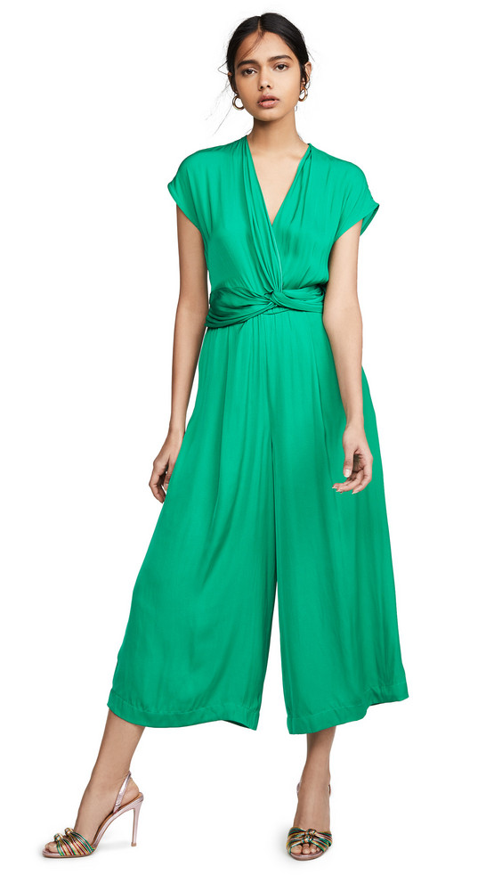 Edition10 V Neck Wrap Waist Jumpsuit in green