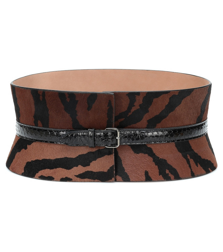 Alaïa Calf hair and snakeskin belt in brown