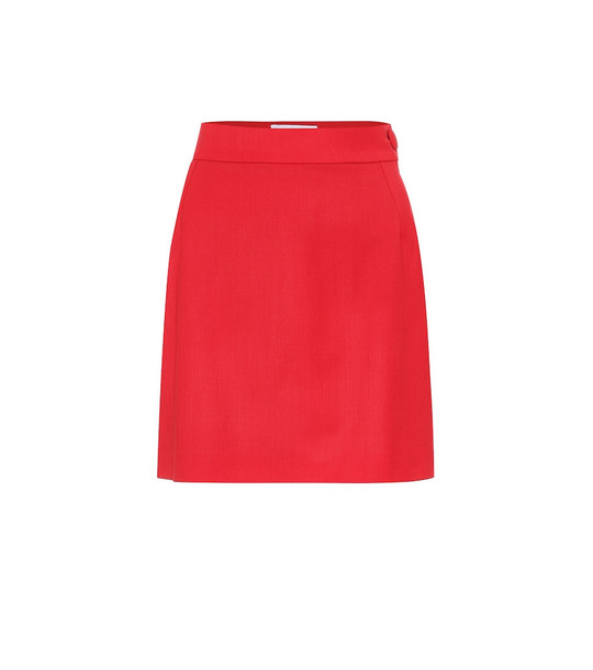 The Attico Stretch-wool miniskirt in red
