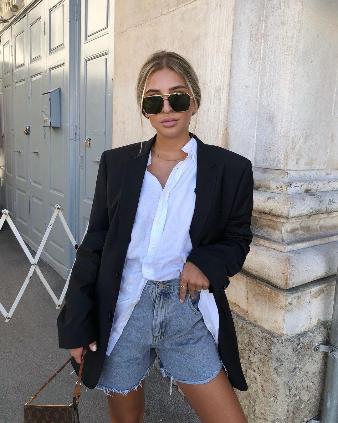 shorts denim shorts black blazer white shirt bag