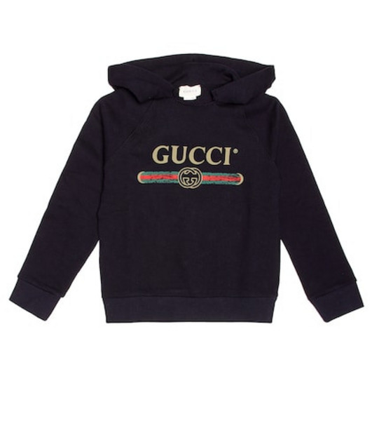 Gucci Kids Logo cotton hoodie in blue