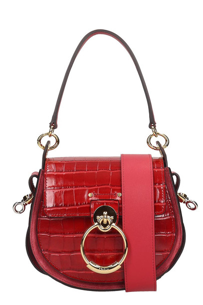Chloé Chloé Tess Shoulder Bag In Red Suede And Leather