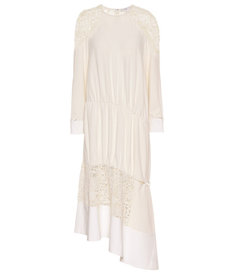 Tibi Asymmetric guipure lace midi dress in white