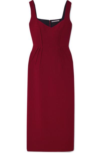 Emilia Wickstead - Juditella Wool-crepe Midi Dress - Claret