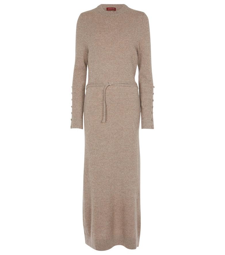 Altuzarra Alice belted cashmere knit dress in beige