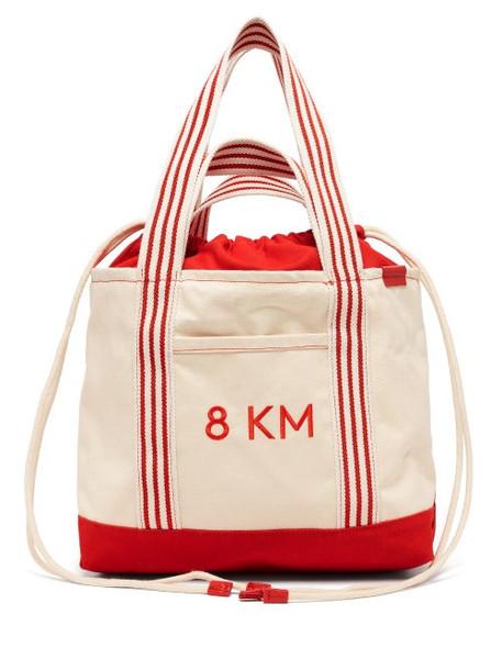 Kilometre Paris - 8km Embroidered Canvas Tote Bag - Womens - White Multi