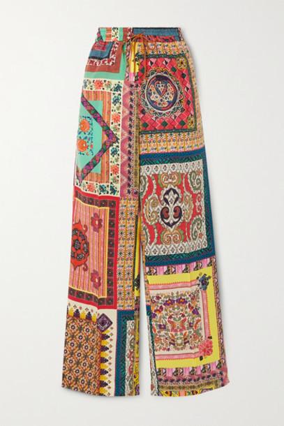 Etro - Printed Silk Wide-leg Track Pants - Orange