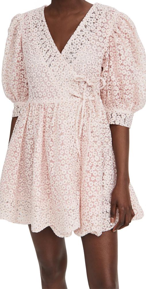 Sister Jane Pink Petalled Mini Wrap Dress in rose