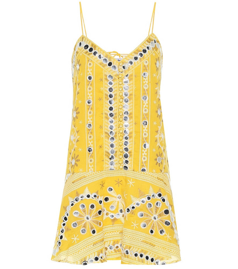 Juliet Dunn Exclusive to Mytheresa – Embellished cotton dress in yellow