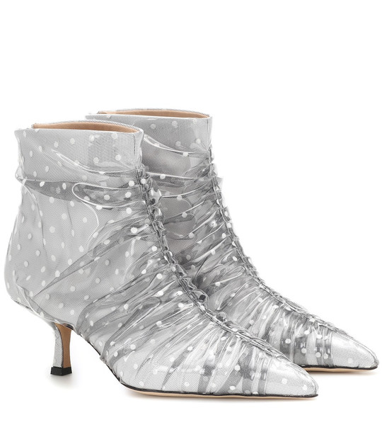 Midnight 00 Tulle and PVC ankle boots in white