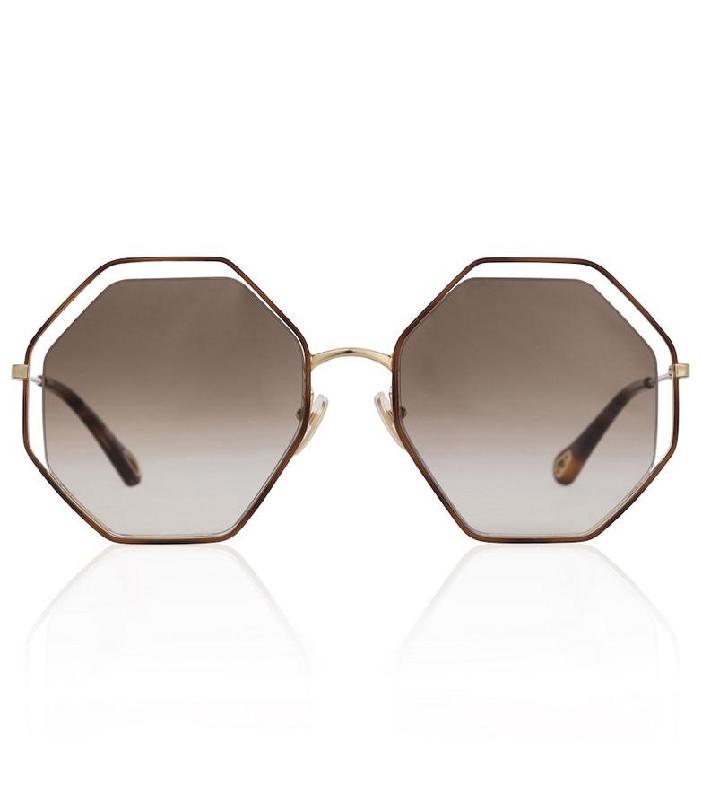 Chloé Poppy Petite octagonal sunglasses in brown