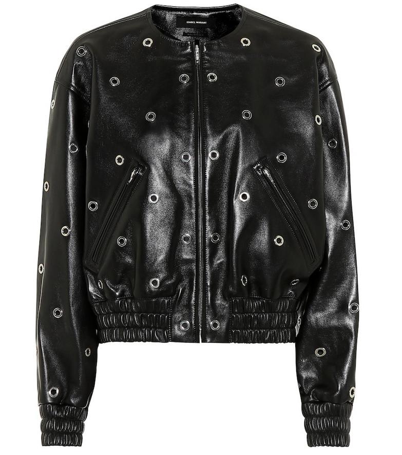 Isabel Marant Quenty leather bomber jacket in black