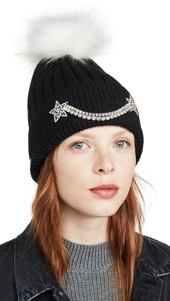 Jocelyn Motif Cuff Rib Hat With Faux Fox Pom in black