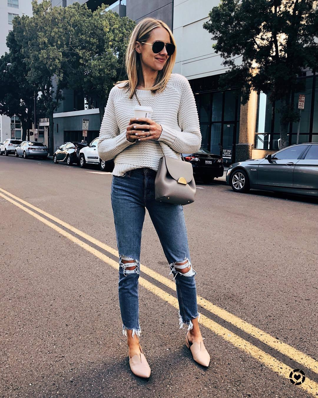 sweater knitted sweater cropped jeans ripped jeans flats crossbody bag
