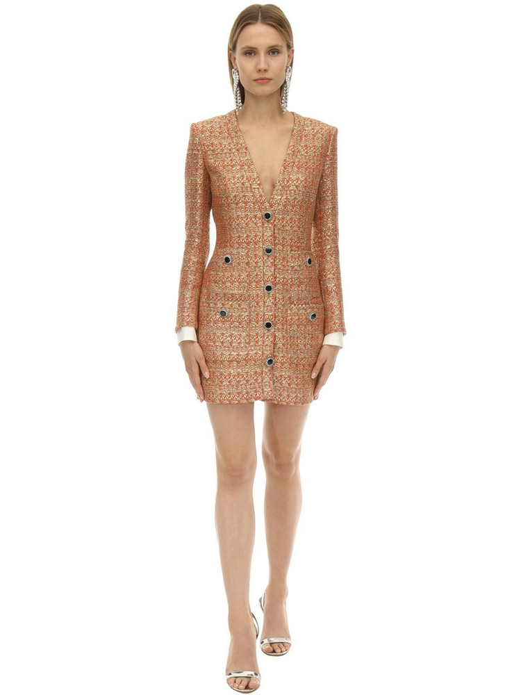 ALESSANDRA RICH V Neck Tweed Mini Dress W/micro Sequins in gold / coral