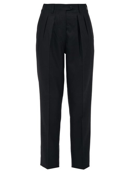 Giuliva Heritage Collection - The Husband Pleated Virgin Wool Twill Trousers - Womens - Black