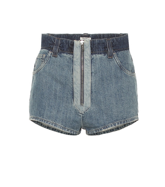 Miu Miu High-rise denim shorts in blue