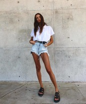 shorts,denim shorts,black sandals,platform sandals,white shirt