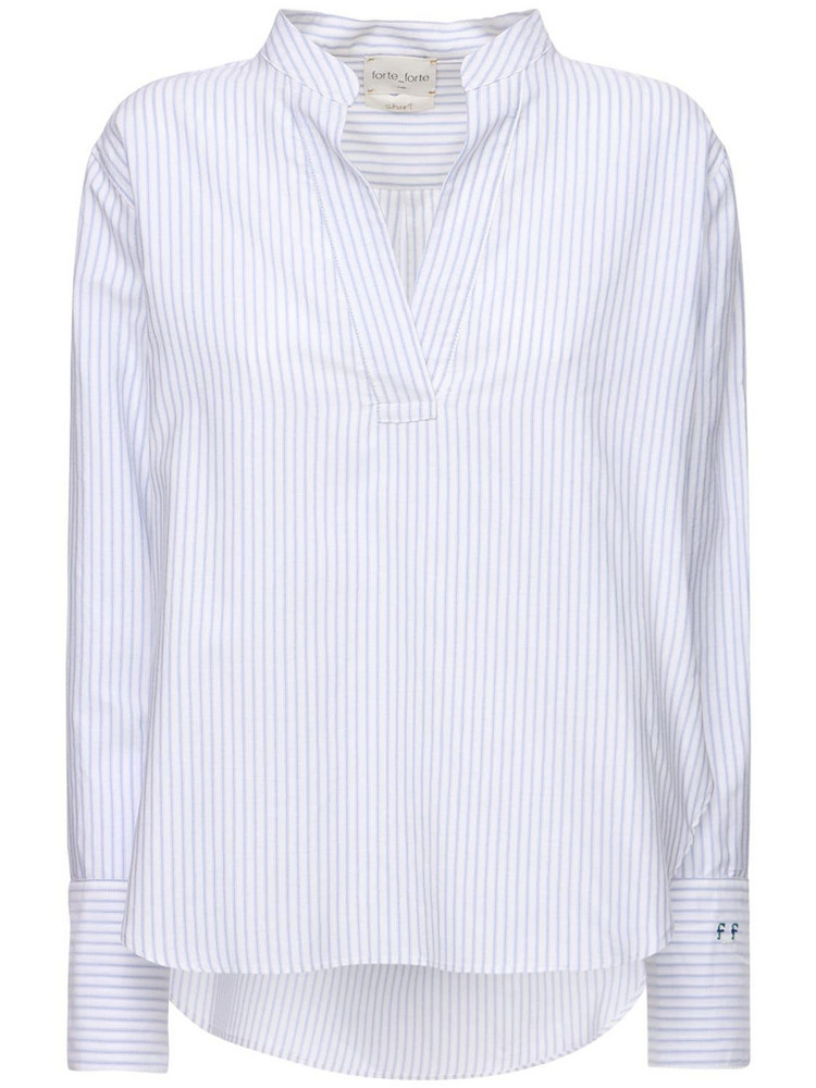 FORTE FORTE Striped Cotton Blend Poplin Shirt in blue