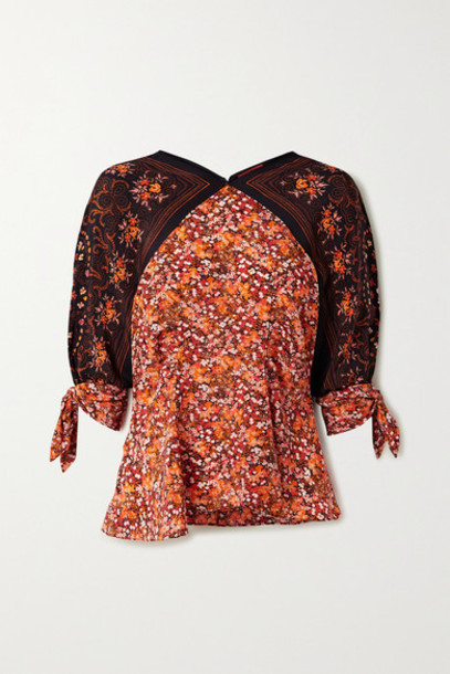 Altuzarra - Charity Tie-detailed Floral-print Silk Crepe De Chine Blouse - Brick