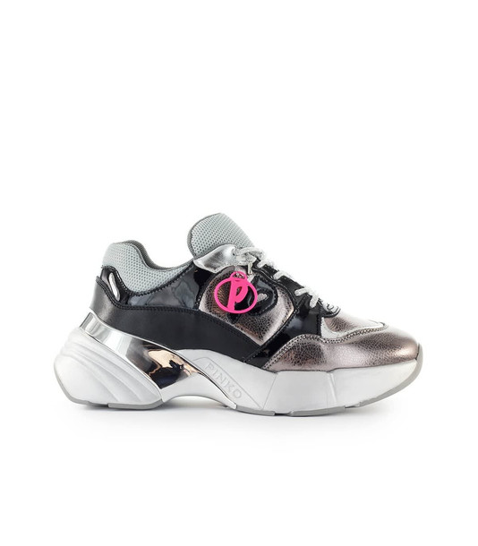 Pinko Olivo Silver Black Laminated Leather Sneaker