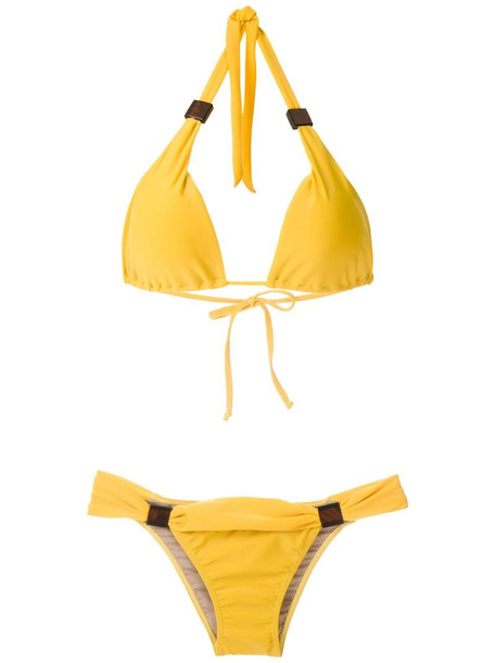 Adriana Degreas appliqué triangle bikini set in yellow