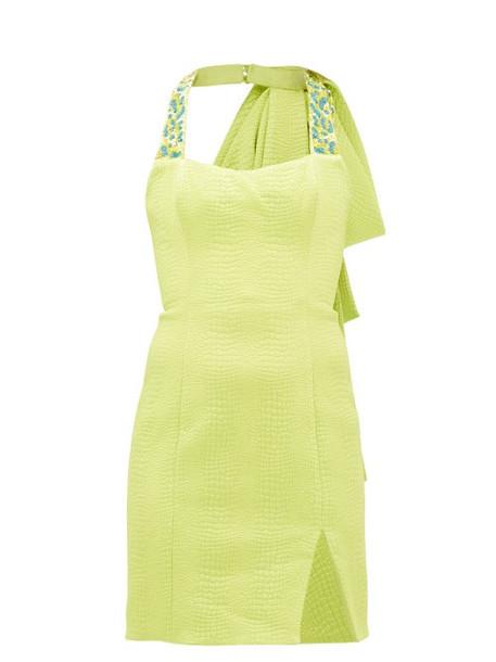 Halpern - Beaded Matelassé Mini Dress - Womens - Green