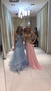dress,blue,mermaid prom dress,camille la vie,prom dress,corset top